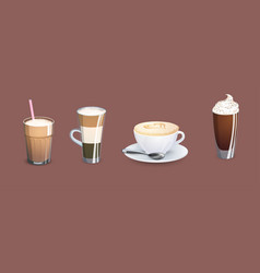 different types of coffee vector image