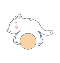 kitten on the yellow ball vector image vector image