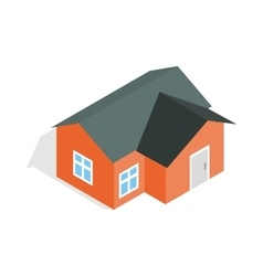 Orange house icon isometric 3d style vector image vector image