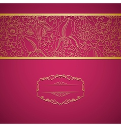 Red ornamental card with lace vector image vector image