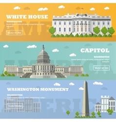 Washington DC tourist landmark banners vector image