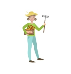 Woman Farmer Holding The Rake And Crate Of vector image