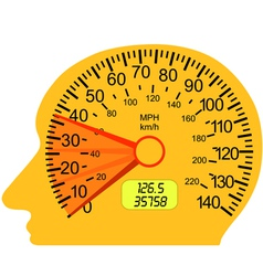 car speedometer in the human brain vector image vector image