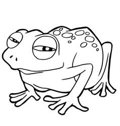 Cartoon cute frog coloring page vector