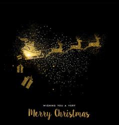 Christmas gold glitter santa claus holiday card vector
