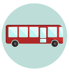 cute colorful red bus icon vector image vector image