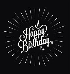 happy birthday logo star burst design background vector image vector image