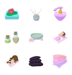 Skin care icons set cartoon style vector