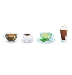 a set of cups with various hot drinks isolated vector image vector image