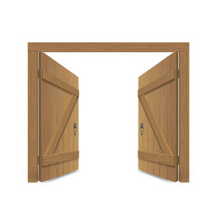 old wooden massive opened gate vector image