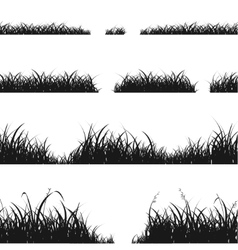 Set of Black Grass Silhouette vector image