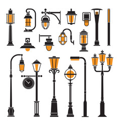 street lamps and lamp posts icons vector image