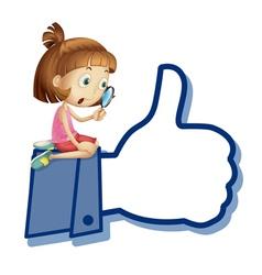 Cartoon girl Like Thumb vector image