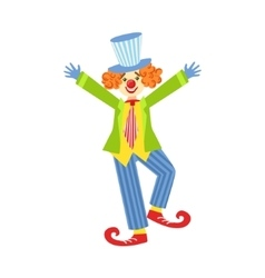 Colorful Friendly Clown With Curled Shoes In vector image vector image