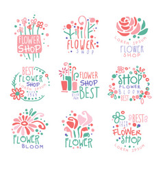flower shop set of logo templates colorful hand vector image vector image