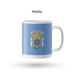 Melilla flag souvenir mug on white background vector image vector image