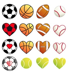 sport balls and hearts set vector image vector image