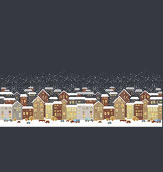 winter christmas landscape with fairy tale houses vector image vector image