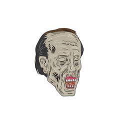 zombie head three quarter view drawing vector image vector image