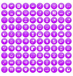 100 data exchange icons set purple vector