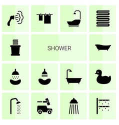 14 shower icons vector