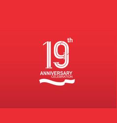 19 anniversary logotype flat design white color vector