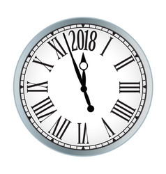2018 new year black clock on white background vector