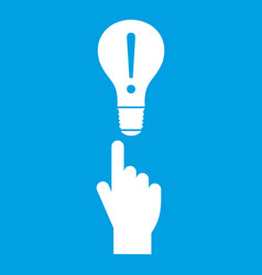 A finger pointer and light bulb icon white vector