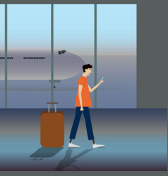 a man carrying a luggage at vector image