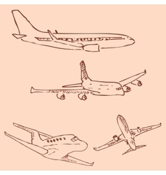 Aircraft Pencil sketch by hand Vintage colors vector image