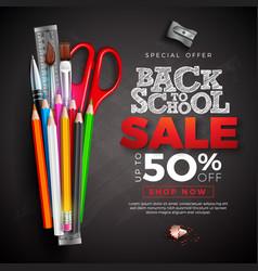 Back to school sale design with colorful pencil vector