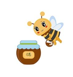 Bee with honey pot vector