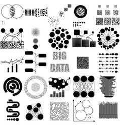 big data set black icon on white vector image