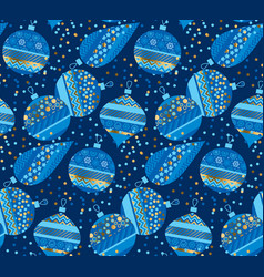 blue bauble xmas luxury seamless pattern vector image