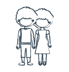 Blurred blue contour faceless curly couple girl vector