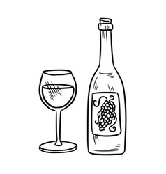 Botlle and wine glass alcohol line art doodle vector