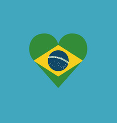 brazil flag icon in a heart shape in flat design vector image