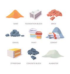 Builder materials construction tools pile bricks vector