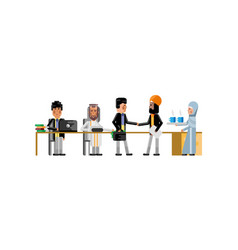 business meeting asian and indian businessmen vector image