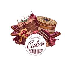 cakes and cream tarts sticker fruit desserts vector image