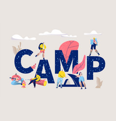 Camp word banner type letter camp poster vector