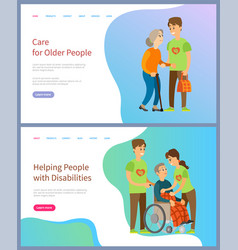 Care for older people with disabilities volunteer vector