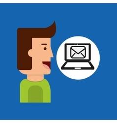 Cartoon man tablet email technology message vector