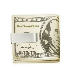 Cash folded in a money clip vector