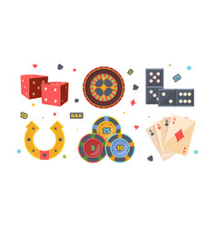 casino gambling set red square dice roulette vector image