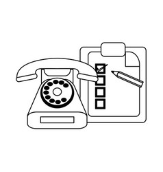 checklist clipboard and pencil with telephone vector image