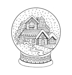 Christmas glass sphere coloring vector