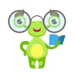 Clever Funny Monster With Glasses And Book Green vector