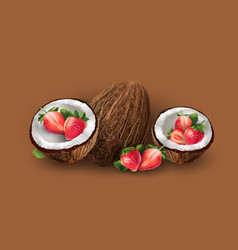 Coconut and strawberry vector