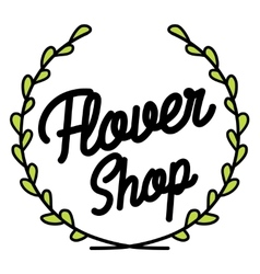 Color vintage flower shop emblem vector